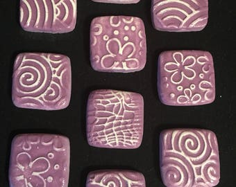 10 Handcrafted Purple And White Square Tiles That Can Be Used In Mosaic And Other Mixed Media Projects