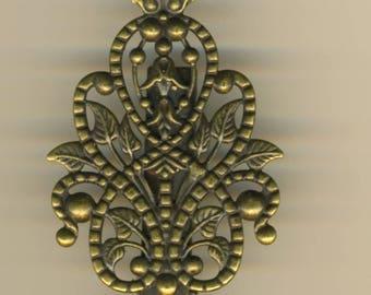 Barrette hair clip in brass, filigree clip, barette style old