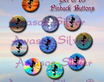 Mermaid pin back buttons or magnets. 1 inch buttons or magnets. Mermaid button or magnet set of 10