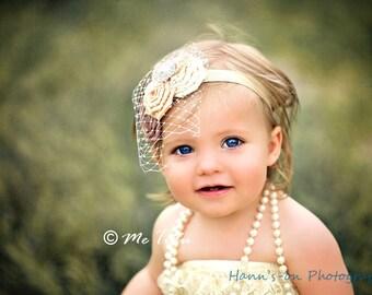 Vintage Shabby Chic Premium Birdcage Veil Net Satin Rosettes Baby Child Girls Headband