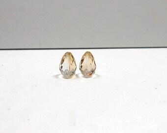 2 HONEY Preciosa Crystal Vertical Drops, 8x12mm, Teardrops, Vertical Drops, Preciosa Crystal, Honey, Bead Supplies, Jewelry Making