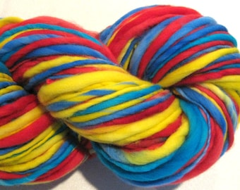 Bulky Handspun Yarn Primaries 126 yards hand dyed merino red blue yellow turquoise yarn waldorf doll hair knitting supplies crochet supplies