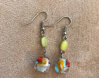 Cube Swirl Bead Earrings