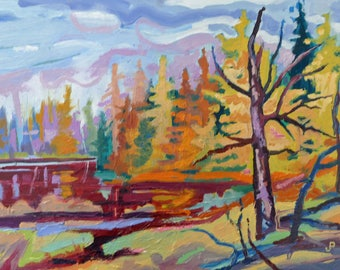 Seney Tamarack   by Jim Page, Original Oil on wood panel, in distressed gold plein aire frame, 9x12