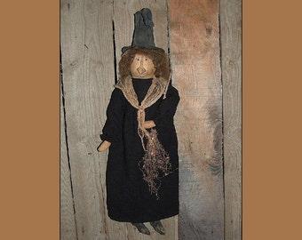 Primitive folk art Halloween witch instant download pattern HAFAIR HAGUILD OFG faap 119