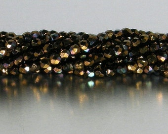 Fire Polish, 3mm Round Bead, Czech Pressed Glass, Jet Bronze Vega, (Y2398), 50 count