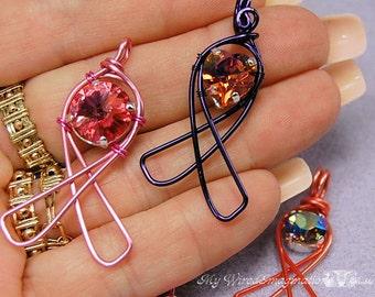 Wire Wrap Jewelry Tutorial,  Awareness Ribbons, Wire Wrap Jewelry Tutorial, Learn How to Wire Wrap Jewelry, Wire Wrap Awareness, Instruction
