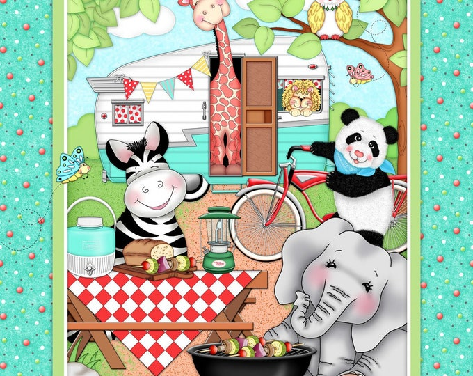 Children's Fabric Panel, Bazooples Camp Out Panel 36 x 43 inches cotton by Springs Creative