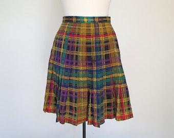 DRAMA CLUB // yellow plaid silk 90s pleated skirt S / M