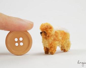 Tiny red chow chow crochet, micro chow chow, tiny amigurumi dog
