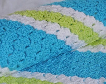 Teal and Lime striped blanket