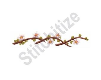 Cherry Blossom Border - Machine Embroidery Design, Cherry Blossoms, Border