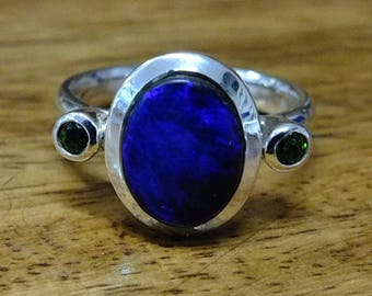 Australian Opal and Green garnet silver ring