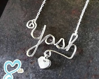 Wired Custom Name Argentium Silver (.935) Necklace