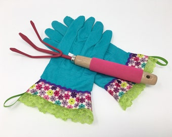 Fancy Gardening Gloves. Colorful Flowers, Green Lace Ruffle. Blue Garden Work Gloves for Women. Housewarming Gift Under 30 for Her.