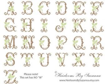 Antique Machine Cross Stitch Leaf Monogram Set - Machine Embroidery - Cross Stitch Monogram - Antique Initials - Leaf Monogram - 4 x 4 hoop