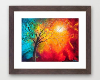 Framed Art Print, Giclee Print, Red Painting, Orange, Teal, Abstract Art, Tree Painting, Colorful Artwork, Modern Wall Art Home Decor, Gifts