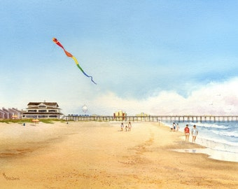 Cloud Surfing with Kites by the ocean at Wrightsville Beach coastal decor