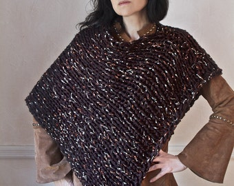 Hand Knit Poncho Hand Knit Sweater Chunky Knit Chocolate Brown