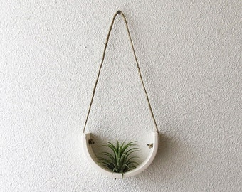 Small Air Plant Cradle Planter - Natural White Earthenware Hanging Wall Plant Stand