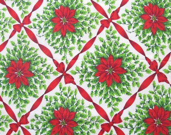 """Vintage Christmas Holiday Tablecloth with Poinsettia Flowers 60"""" x 82"""""""