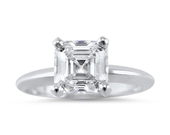 3 Carat Asscher Forever ONE Solitaire Engagement Ring, Forever ONE Moissanite engagement ring, Asscher engagement ring, Bridal,solitaire