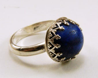 Sterling Silver and Lapis Ring - Size 6, Resizable