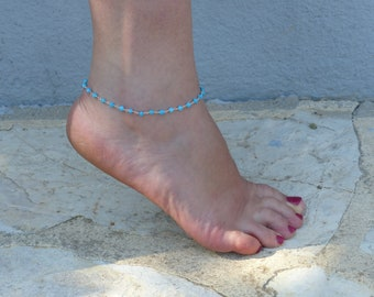 Beads Anklet 925 sterling silver turquoise ankle bracelet - turquoise - jewelry summer beach foot bracelet - available in Moonstone