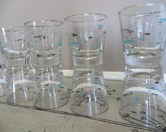 Vintage Libbey Atomic Fish Glasses Tumbler Mediterranean Libbey Glassware Turquoise and Gold Barware Retro Lowball Glasses