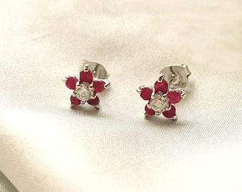 Sterling Silver Ruby Flower Stud Earrings