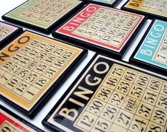 Bingo Card Drink Coaster Set, Colorful Retro Wood Coasters, Set of Six Coasters, Game Room Decor, Vintage Style Game Art, Hostess Gift,