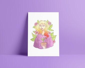 Woman with plants - Fine Art Print ~ Lucile Farroni