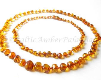Baltic Amber Baby Teething Set for Baby and Mommy, Cognac Color Beads