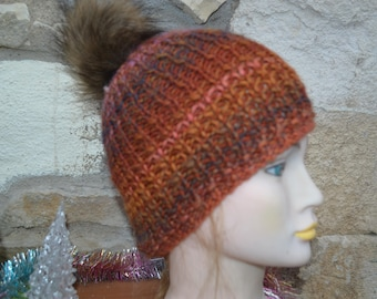 Brown hand knitted Hat