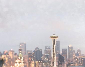 Seattle Photography -  City Skyline at Dusk, Space Needle, Urban Home Decor, Large Wall Art