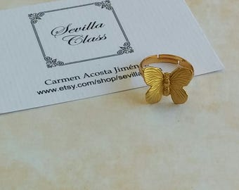 Raw brass Butterfly Adjustable ring