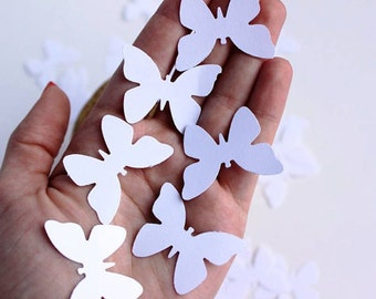 Paper Butterfly Die Cuts  in White, Wedding Butterflies, Baptism Decoration, White Theme Party, Butterfly Cut Outs, White Bridal Shower