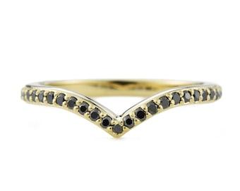 Black Diamond V shaped ring, V Ring, solid 14K gold chevron ring, v-shaped wedding band, minimalist ring, black diamond wedding band