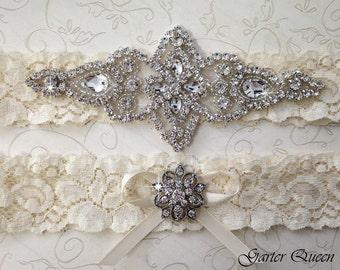 BEST SELLER Ivory Lace Garter Set, Wedding Garter Set, Bridal garter Set, Rhinestone Garter, Lace Wedding Garter