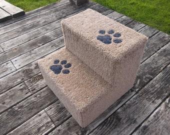 Sturdy Dog Steps with paw prints 15' H x 16' W x 16' D.