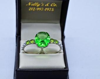 925 Silver and Green Cubic Zirconias Double Ring