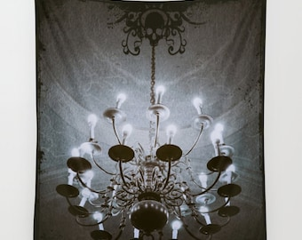 Chandelier Wall Tapestry, Goth Large Size Wall Art, Modern Decor, Skull Dark, Office, Dorm Art, Garden, Sepia Tapestry, Dorm Art, Steampunk