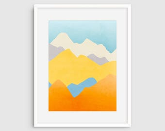 Colorful Abstract Wall Art, Mountain Art, Large Art Print, Minimalist Modern Wall Art, Wall Art Large, Orange Blue Art, Mountain Print