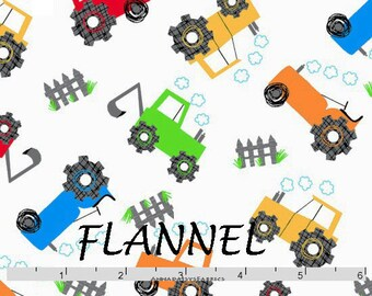 Tractor Flannel, Farm Flannel, Baby Quilt Flannel, A E Nathan Comfy Prints 0867 124, Boy's Flannel, Cotton Flannel Yardage