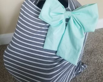 Car seat Cover Nursing cover Shopping Cart Cover 3 in1 stretchy carseat cover carseat canopy with Add on Large bow if requested