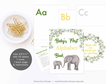 Gray Elephant Green Laurel Alphabet Book Baby Shower Activity 8.5x11 Baby's First Alphabet Book, DIY ABC book printable