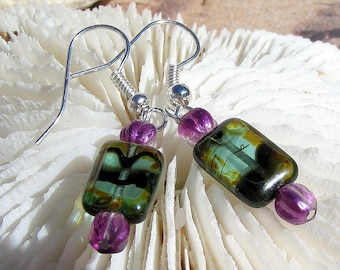 Silver Earrings, Green and Purple Glass Jewelry E060,Jewelry