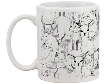 Woodland Mug | Featuring Deers, Rabbits, Foxes, Owls and more!