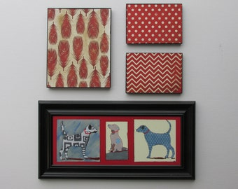 """Wall Gallery - """"Come-Sit-Stay""""- whimsical decor - dog wall art collage - nursery decor - kids bedroom"""
