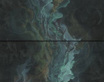 Original Abstract Diptych Painting on Canvas, Green Blue and Copper Mystical Art, 20x32